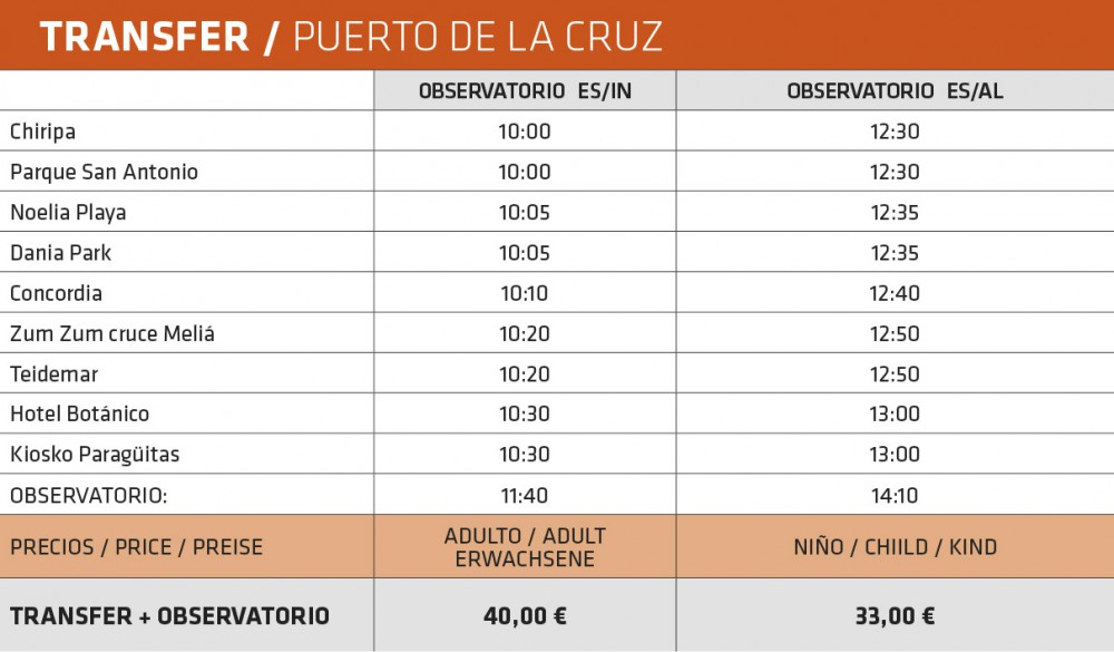 Pick-up hours for the guided visits of the Teide Observatory from the north of Tenerife