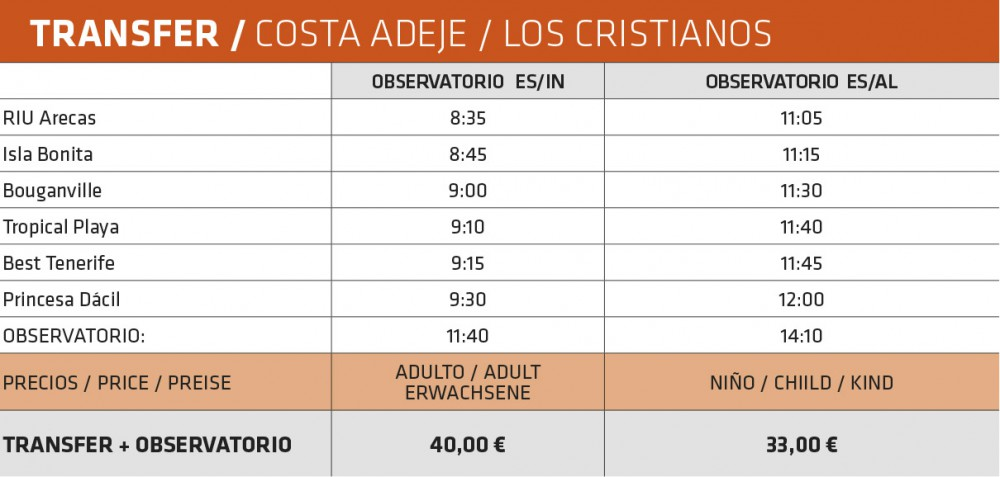 Pick-up hours for the guided visit of the Teide Observatory from the South of Tenerife
